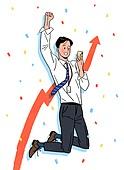 상업이벤트 (사건), 꽃가루, 기쁨 (컨셉), 축하 (컨셉), 점프, 주식시장 (금융), 비즈니스맨