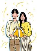 상업이벤트 (사건), 꽃가루, 기쁨 (컨셉), 축하 (컨셉), 선물 (인조물건), 당첨, 부부, 커플, 신혼부부