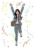 상업이벤트 (사건), 꽃가루, 기쁨 (컨셉), 축하 (컨셉), 점프, 신입사원, 채용 (고용문제), 비즈니스, 비즈니스우먼