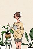 여성 (성별), 가을, 라이프스타일, 싱글라이프 (주제), 베이지색 (색), 집콕 (컨셉), 화분, 취미, 반려식물, 치즈나무 (열대관목), 여인초 (열대꽃)