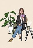 여성 (성별), 가을, 라이프스타일, 싱글라이프 (주제), 베이지색 (색), 카페, 여인초 (열대꽃), 커피 (뜨거운음료), 독서