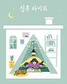 집, 안전, 코로나바이러스 (바이러스), 집콕 (컨셉), 라이프스타일, 가족, 아기 (나이), 엄마, 독서