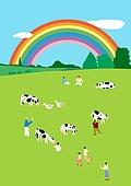 백그라운드 (주제), 풍경 (컨셉), 자연 (주제), 소 (발굽포유류), 신축, 새해 (홀리데이), 초원 (자연의토지상태), 풀 (식물), 휴양 (컨셉), 젖소, 무지개