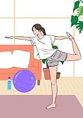 홈트레이닝 (운동), 운동, 집, 여성 (성별), 운동매트 (운동기구)