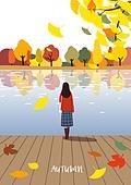 가을, 풍경 (컨셉), 여성 (성별), 나무, 은행나무, 호수, 나무테라스 (파티오), 뒷모습