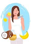 청년 (성인), 뷰티, 건강한생활 (주제), 이너뷰티, 여성 (성별), 치아미백, 치아, 바나나 (열대과일), 코코넛