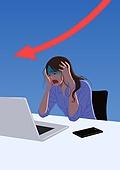 빚 (금융), 가정경제 (금융), 우울, 파랑 (색), 청년 (성인), 화이트칼라 (전문직), 노트북컴퓨터 (개인용컴퓨터), 패배 (실패), 비즈니스우먼