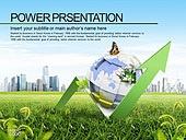 PPT,파워포인트,메인페이지,친환경,자연,도시,에코,그린,나비,지구,글로벌,세계,화살표,증가,상승