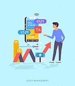 빅데이터 (인터넷), 자산관리, 스마트폰, 모바일앱 (인터넷), 소비 (컨셉), 그래프, 화살표, 동전, 돈다발