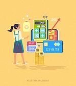 빅데이터 (인터넷), 자산관리, 스마트폰, 모바일앱 (인터넷), 소비 (컨셉), 그래프, 화살표, 돈자루 (가방), 저축, 신용카드, 적금