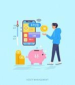 빅데이터 (인터넷), 자산관리, 스마트폰, 모바일앱 (인터넷), 소비 (컨셉), 돼지저금통, 화폐 (금융아이템), 투자