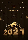 금, 2021년, 새해 (홀리데이), 연하장 (축하카드), 소띠해 (십이지신), 소 (발굽포유류)