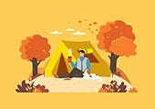 가을, 사람, 라이프스타일, 단풍나무 (낙엽수), 단풍나무, 캠핑, 텐트, 애완견 (개)
