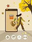 쇼핑 (상업활동), 휴대폰 (전화기), 연례행사 (사건), 가을, 스마트폰, 모바일쇼핑, 장바구니