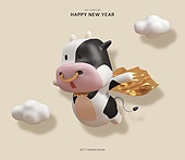 그래픽이미지 (Computer Graphics), 새해 (홀리데이), 연하장 (축하카드), 캐릭터, 소 (발굽포유류), 2021, 2021년, 소띠해, 십이지신