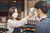 코로나바이러스 (바이러스), 코로나19 (코로나바이러스), 사회적거리두기 (사회이슈), 코로나바이러스, 질병예방, 카페 (공공건물), 온도 (묘사), 온도계 (측정도구)