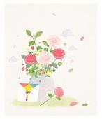 식물, 꽃, 선물 (인조물건), 수채화 (회화기법), 꽃다발, 연례행사 (사건), 새해 (홀리데이), 명절 (한국문화)