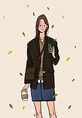 여성 (성별), 청년 (성인), 가을, 패션, 패션 (주제), 20대 (청년), 대학생, 라이프스타일, 커피 (뜨거운음료)