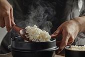 밥, 솥, 음식준비, 수증기 (물형태)