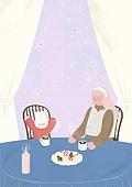 소녀, 겨울, 크리스마스 (국경일), 토끼 (토끼목), 캐릭터, 식탁, 핫초코