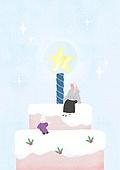 소녀, 겨울, 크리스마스 (국경일), 토끼 (토끼목), 캐릭터, 케이크 (달콤한음식), 크리스마스케이크