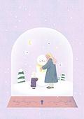소녀, 겨울, 크리스마스 (국경일), 토끼 (토끼목), 캐릭터, 스노우글로브 (장난감), 눈사람