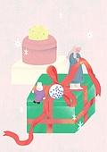소녀, 겨울, 크리스마스 (국경일), 토끼 (토끼목), 캐릭터, 선물 (인조물건), 선물상자