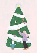 소녀, 겨울, 크리스마스 (국경일), 토끼 (토끼목), 캐릭터, 크리스마스트리, 크리스마스트리 (크리스마스데코레이션)
