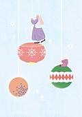 소녀, 겨울, 크리스마스 (국경일), 토끼 (토끼목), 캐릭터, 크리스마스트리 (크리스마스데코레이션), 장난감모빌 (장난감)