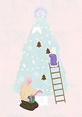 소녀, 겨울, 크리스마스 (국경일), 토끼 (토끼목), 캐릭터, 크리스마스트리, 크리스마스트리 (크리스마스데코레이션), 사다리