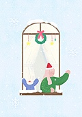 소녀, 겨울, 크리스마스 (국경일), 토끼 (토끼목), 캐릭터, 리스, 커튼 (데코르), 눈 (얼어있는물)