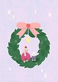 소녀, 겨울, 크리스마스 (국경일), 토끼 (토끼목), 캐릭터, 리스, 리본 (봉제도구)