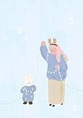소녀, 겨울, 크리스마스 (국경일), 토끼 (토끼목), 캐릭터, 전구 (전등빛), 눈 (얼어있는물)