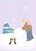 소녀, 겨울, 크리스마스 (국경일), 토끼 (토끼목), 캐릭터, 눈 (얼어있는물), 눈굴리기