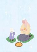 소녀, 겨울, 크리스마스 (국경일), 토끼 (토끼목), 캐릭터, 귤 (감귤류), 눈 (얼어있는물), 방석