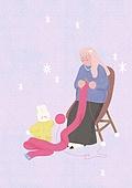 소녀, 겨울, 크리스마스 (국경일), 토끼 (토끼목), 캐릭터, 의자 (좌석), 뜨개질 (움직이는활동), 털실