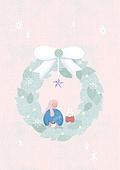소녀, 겨울, 크리스마스 (국경일), 토끼 (토끼목), 캐릭터, 리스, 크리스마스트리 (크리스마스데코레이션), 리본 (봉제도구)
