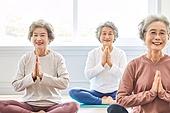한국인, 노인 (성인), 실버라이프 (주제), 요가, 노인여자 (성인여자), 운동, 실버라이프, 명상, 미소