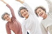 한국인, 노인 (성인), 실버라이프 (주제), 요가, 노인여자 (성인여자), 운동, 실버라이프, 미소, 밝은표정