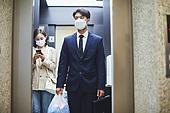 마스크 (방호용품), 코로나바이러스 (바이러스), 코로나19 (코로나바이러스), 사회적거리두기 (사회이슈), 출퇴근 (여행하기), 감기예방마스크, 엘리베이터