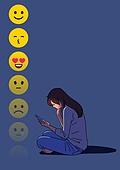 외로움, 정신건강 (주제), 우울, 스트레스, SNS (기술), 스마트폰, 이모티콘 (컨셉심볼), 여성 (성별)