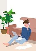 사람, 재택근무, 화이트칼라 (전문직), 일 (물리적활동), 집, 노트북컴퓨터 (개인용컴퓨터), 여성 (성별), 비즈니스우먼