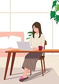 사람, 재택근무, 화이트칼라 (전문직), 일 (물리적활동), 집, 노트북컴퓨터 (개인용컴퓨터), 여성 (성별), 비즈니스우먼, 테이블, 거실, 머그잔 (컵)