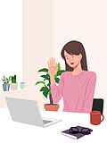 사람, 재택근무, 화이트칼라 (전문직), 일 (물리적활동), 집, 노트북컴퓨터 (개인용컴퓨터), 여성 (성별), 비즈니스우먼, 화상회의 (컨퍼런스콜)