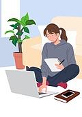 사람, 재택근무, 화이트칼라 (전문직), 일 (물리적활동), 집, 노트북컴퓨터 (개인용컴퓨터), 여성 (성별), 비즈니스우먼, 소파, 거실