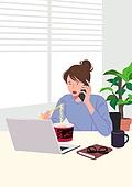 사람, 재택근무, 화이트칼라 (전문직), 일 (물리적활동), 집, 노트북컴퓨터 (개인용컴퓨터), 여성 (성별), 비즈니스우먼, 통화중 (움직이는활동), 라면, 컵라면