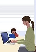 사람, 재택근무, 화이트칼라 (전문직), 일 (물리적활동), 집, 노트북컴퓨터 (개인용컴퓨터), 여성 (성별), 비즈니스우먼, 워킹맘, 어린이 (나이), 육아