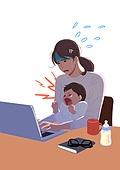 코로나19 (코로나바이러스), 코로나우울 (신조어), 엄마, 육아, 가사 (허드렛일), 스트레스, 울음 (얼굴표정), 아기 (나이), 재택근무