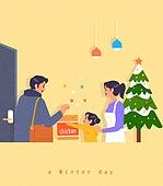 겨울, 라이프스타일, 집, 귀가, 크리스마스 (국경일), 크리스마스트리, 가족