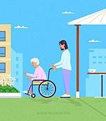 치매, 요양원, 노인 (성인), 간병인 (의료계종사자), 휠체어, 걷기 (물리적활동)